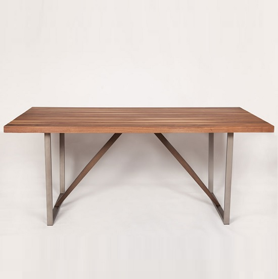 Coralie wooden dining table large in walnut and metal legs for Dining table with metal legs