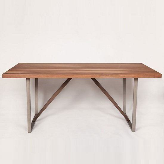 Coralie Wooden Dining Table Large In Walnut And Metal Legs