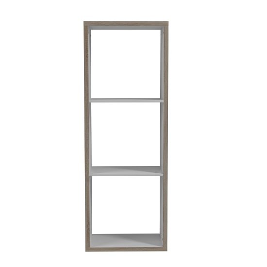 Photo of Coran bookcase in sonoma oak and white with 3 compartments