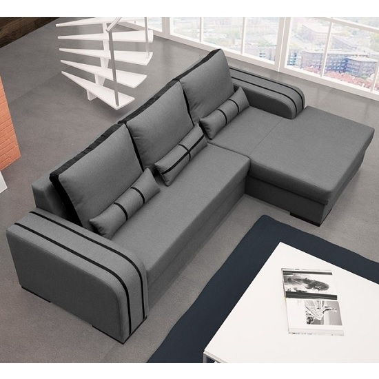 Corano Fabric Corner Sofa Bed In Grey And Black With Storage