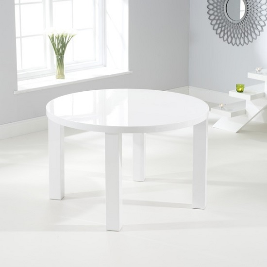 Corano Modern Dining Table Round In White High Gloss Furniture In Fashion