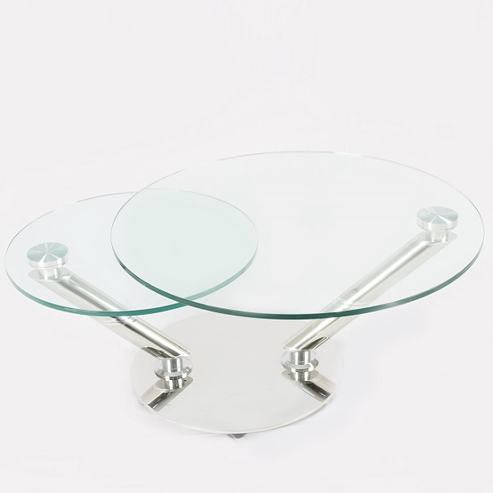 Corazon Rotating Glass Coffee Table In Clear And Silver