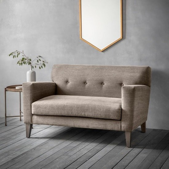 Corban Fabric 2 Seater Sofa In Ranch Beige With Wooden Legs