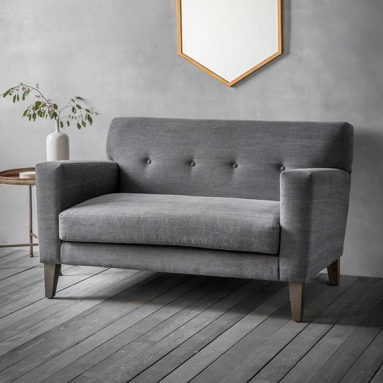 Corban Fabric 2 Seater Sofa In Ranch Graphite With Wooden Legs