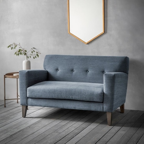 Corban Fabric 2 Seater Sofa In Ranch Navy With Wooden Legs
