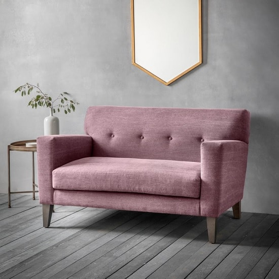 Corban Fabric 2 Seater Sofa In Ranch Wine Red With Wooden Legs