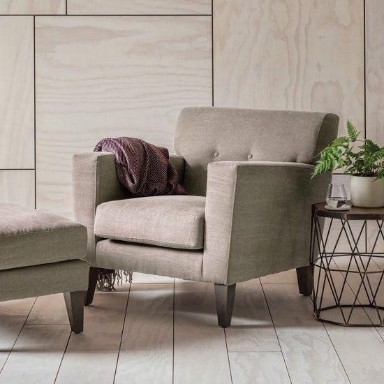 Corban Fabric Armchair In Ranch Beige With Wooden Legs