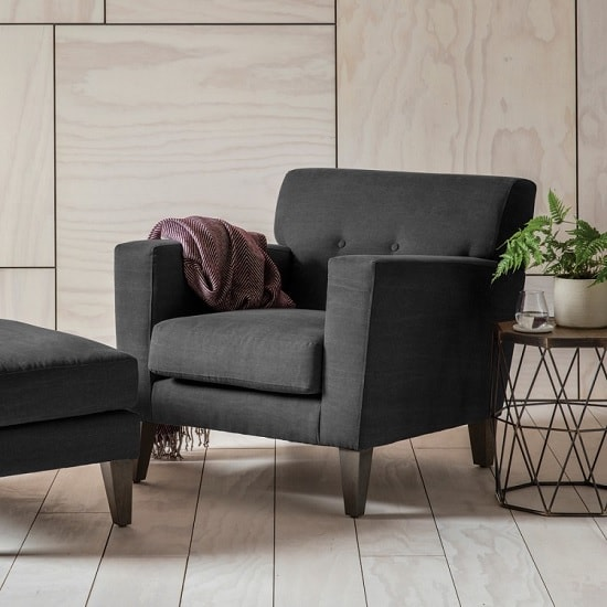 Corban Fabric Armchair In Ranch Graphite With Wooden Legs