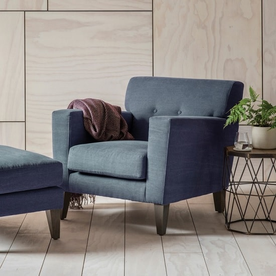 Corban Fabric Armchair In Ranch Navy With Wooden Legs