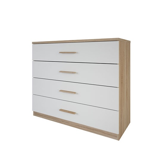 Corban Chest Of Drawers In Brushed Oak And White Pearl