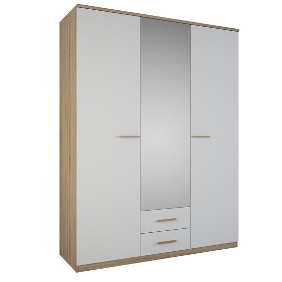 Corban Mirror Wardrobe In Brushed Oak And White Pearl
