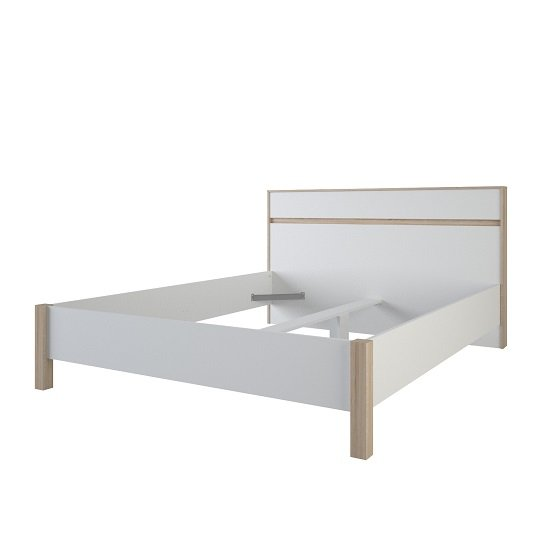 Corban Wooden King Size Bed In Brushed Oak And White Pearl