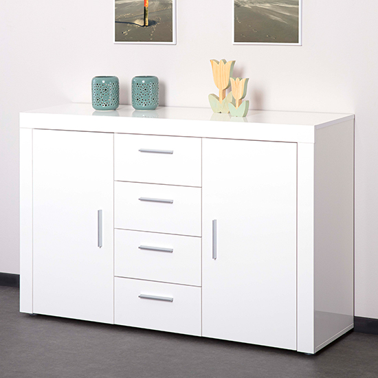 Corbet Large Wooden Sideboard In White High Gloss