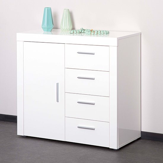 Corbet Wooden Sideboard In White High Gloss