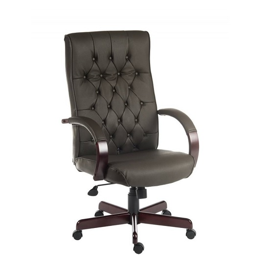 View Corbin executive office chair in brown faux leather
