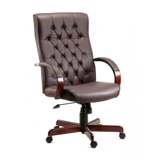 Corbin Executive Office Chair In Burgundy Faux Leather