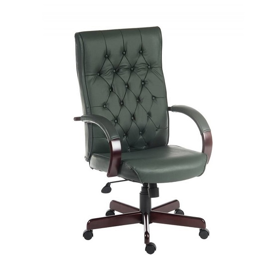 Corbin Executive Office Chair In Green Faux Leather