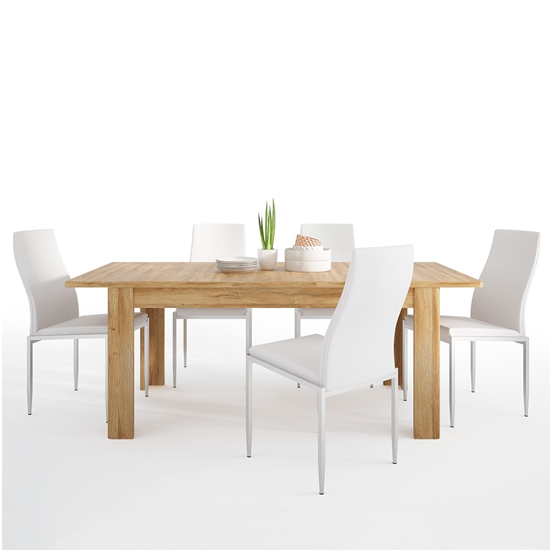 Corco Extending Dining Table With 4 Mexa White Leather Chairs