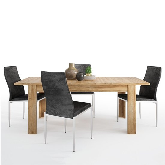 Corco Extending Dining Table With 6 Mexa Black Leather Chairs