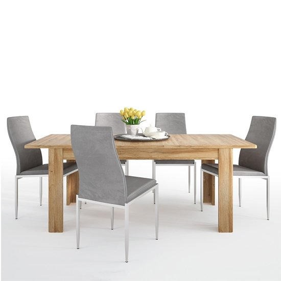 Corco Extending Dining Table With 6 Mexa Grey Leather Chairs