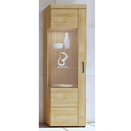 Corco LED Tall Left Handed Display Cabinet In Grandson Oak