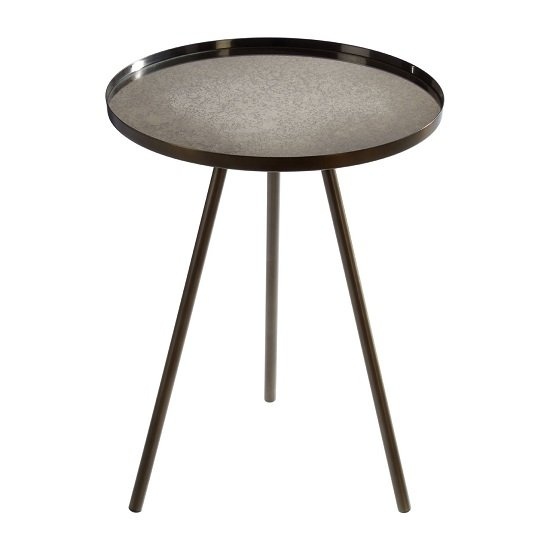 Cordue Glass Side Table Round In Black Iron Finish_2
