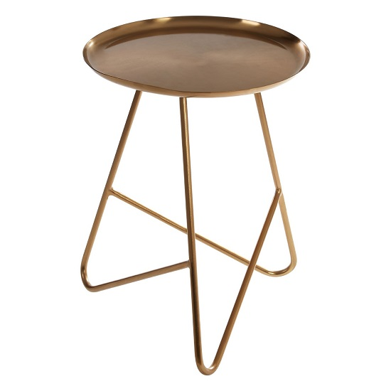 Cordue Metal Side Table In Brass With Hairpin Legs_2