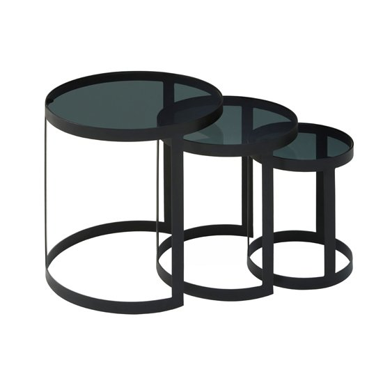 Cordue Set Of 2 Glass Nesting Tables In Black