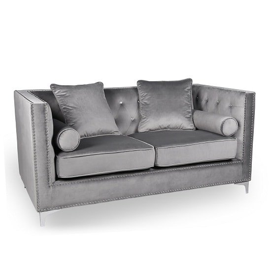 Corelli Modern Fabric 2 Seater Sofa In Brushed Grey Velvet 1