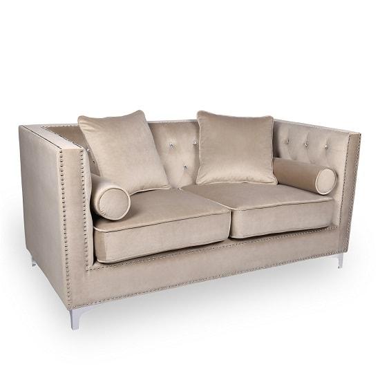 Corelli Modern Fabric 2 Seater Sofa In Mink Brushed Velvet