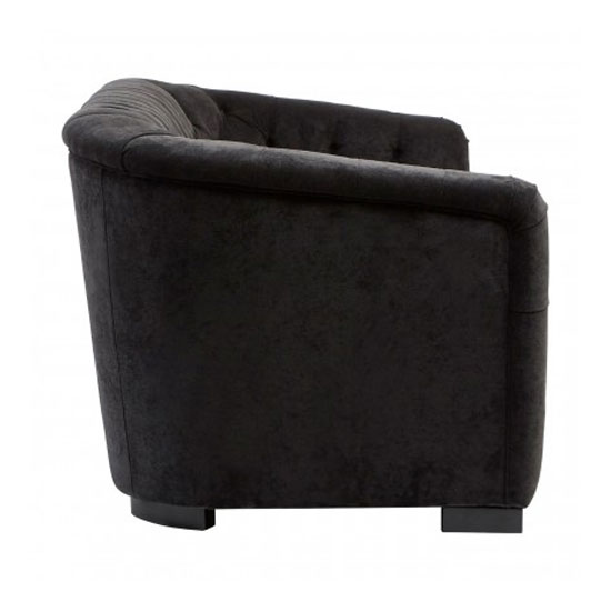 Corelli 3 Seater Fabric Sofa In Black With Wooden Feet_3