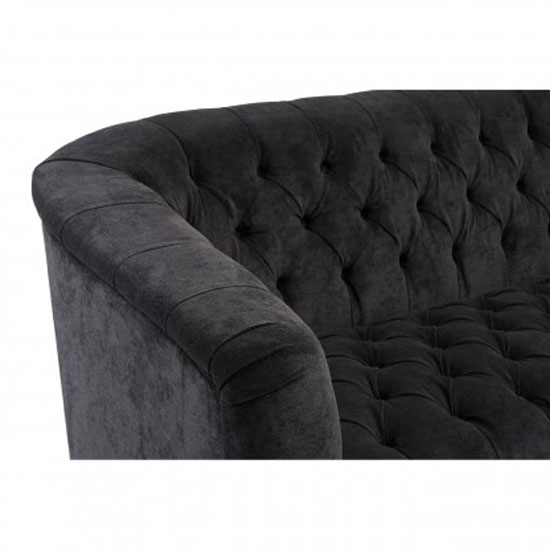 Corelli 3 Seater Fabric Sofa In Black With Wooden Feet_4