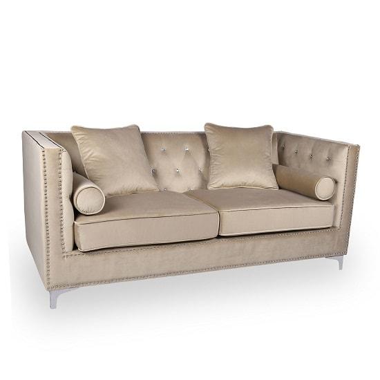 Corelli Modern Fabric 3 Seater Sofa In Mink Brushed Velvet