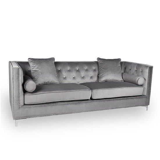 Corelli Modern Fabric 4 Seater Sofa In Grey Brushed Velvet