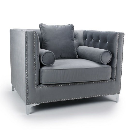 Product photograph showing Corelli Modern Fabric Sofa Chair In Brushed Grey Velvet