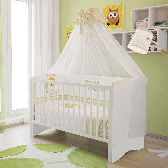 Corfu Wooden Childrens Cot Bed In White