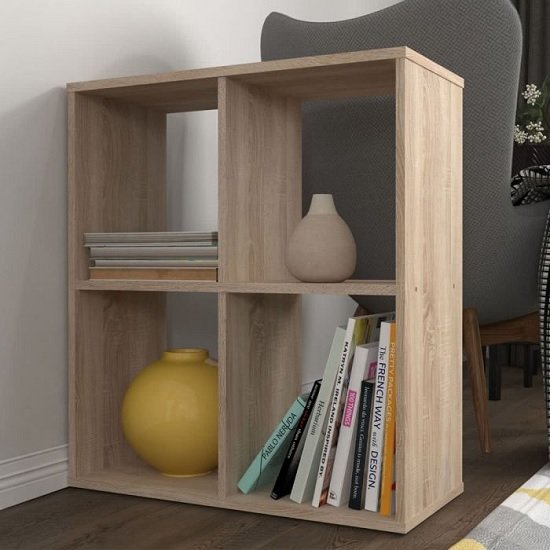 Corfu Wooden Shelving Unit In Oak With 4 Compartments_1