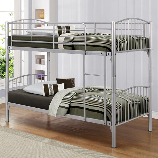 Corfu Steel Bunk Bed In Silver