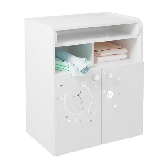 Corfu Teddy Print Storage Cupboard With Changing Top In White