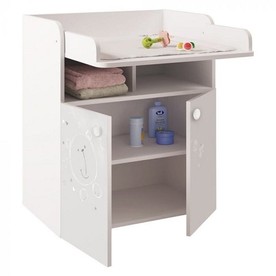 Corfu Teddy Print Storage Cupboard With Changing Top In White_2