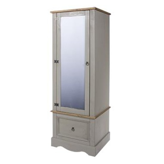 Product photograph showing Corina Armoire With Mirrored Door Wardrobe In Grey
