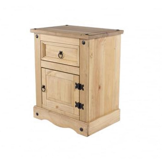 Corina Bedside Cabinet In Antique Wax With One Door And Drawer