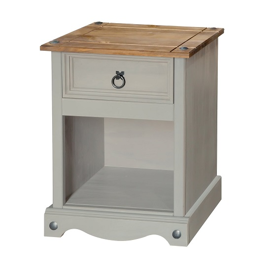 Corina Bedside Cabinet In Grey Washed Wax With One Drawer