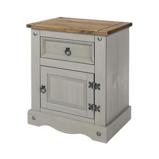 Corina Bedside Cabinet In Grey Wax With One Door And Drawer