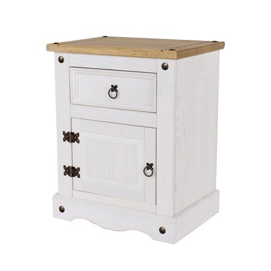 Corina Bedside Cabinet In White Wax With One Door and Drawer