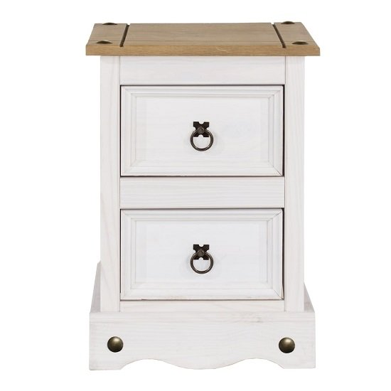 Corina Bedside Cabinet In White Washed Wax With Two Drawers