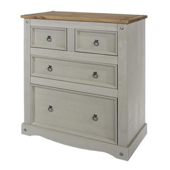 Corina Chest Of Drawers In Grey Washed Wax With Four Drawers