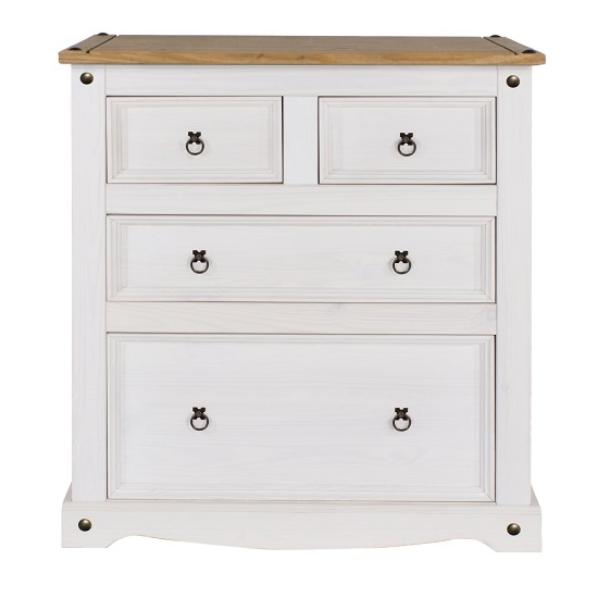 Corina Chest Of Drawers In White Washed Wax With Four Drawers