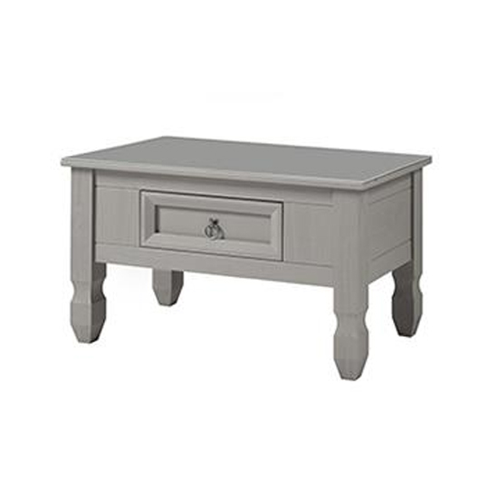Corina Compact Glass Top Coffee Table In Grey With 1 Drawer