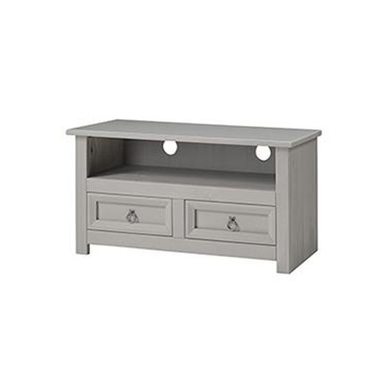 Corina Compact Glass Top TV Unit In Grey With 2 Drawers
